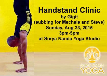 handstand clinic at surya nanda yoga studio