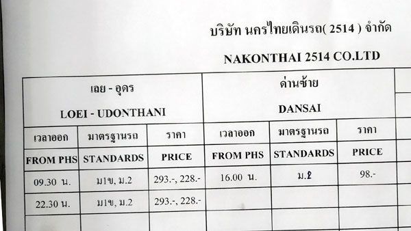 Phitsanulok to Udon Thani bus schedule